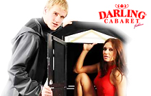 Magic cabaret show with magician and his sexy girl assistant at the Darling Cabaret in Prague