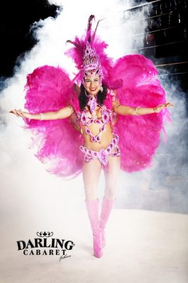 Beautiful almost naked girl with pink wings on the back dances on stage at Darling cabaret in Prague. The dancer adds the atmosphere in night club and irresistibly force you to stamp your feet to the rhythm of the Samba