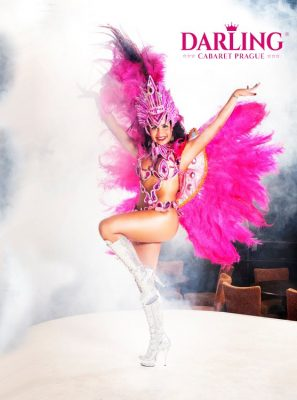 There is erotic show from Brazil on stage of Darling cabaret in Prague. Hot cabaret girl dance with plumes on her back.