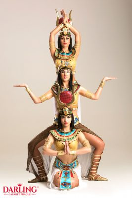 Sexy girls make totem for Egypt show at erotic club Darling Cabaret in Prague