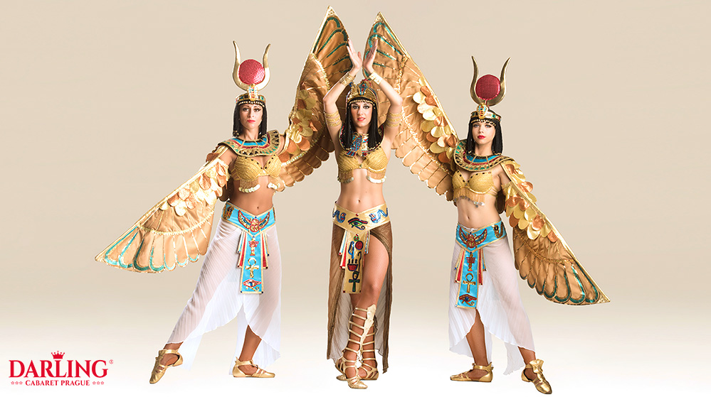 Three sexy girls for Egypt show in ancient egypt dresses at erotic club Darling Cabaret in Prague