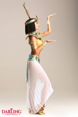 Hot girl in ancient egypt dress for show at Darling Cabaret in Prague