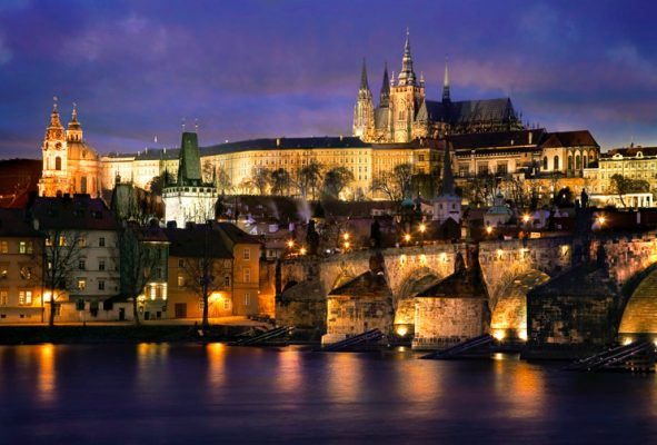 The Prague castle and the Charles bridge in Prague