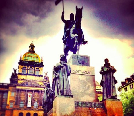 "title=""The Statue of Wenceslas and the Czech National Museum on the Wenceslas Square """